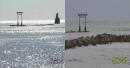 19호 태풍 하기비스로 일본 이시카와현 바위섬 사라져