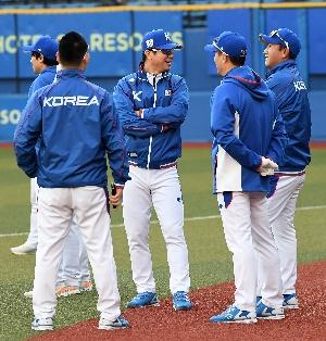 어제 승리로 여유로운 한국 야구 대표...
