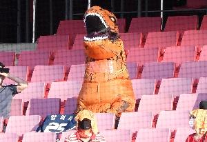공룡 탈 쓰고 다이노스 응원하는